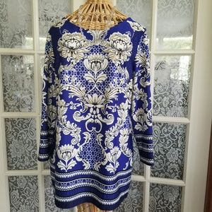 Floral Tunic Blouse-Royal Blue & White Design
